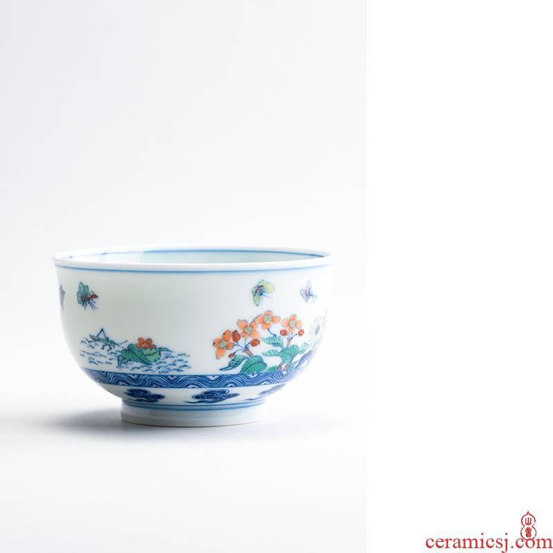 Qin Qiuyan bucket color water garden single cup of jingdezhen ceramic cups kung fu tea set manually master cup sample tea cup