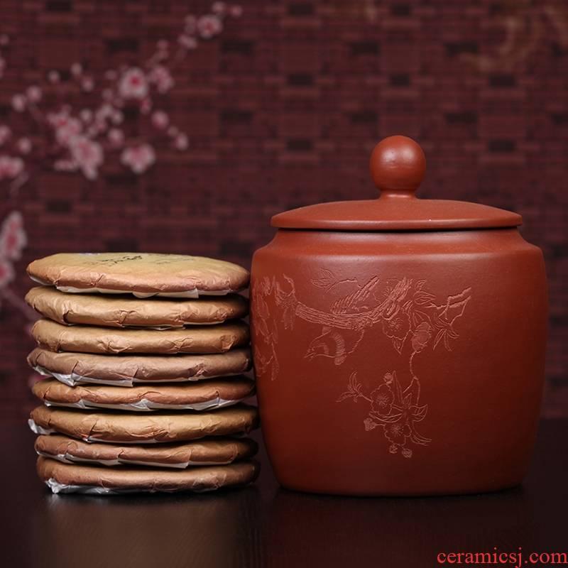 Qiao mu JS yixing purple sand pot of pu 'er tea to wake receives seven loaves violet arenaceous caddy fixings large tea urn