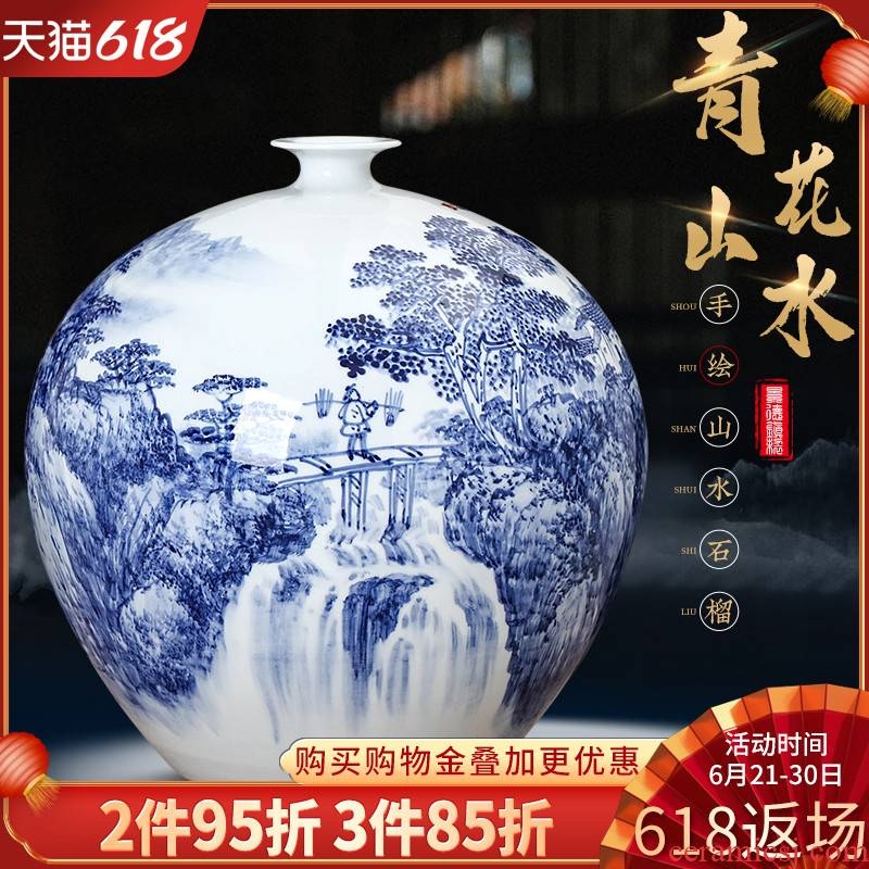 Jingdezhen blue and white landscape hand - made vases, Chinese style home sitting room TV cabinet ceramic ornaments rich ancient frame furnishing articles