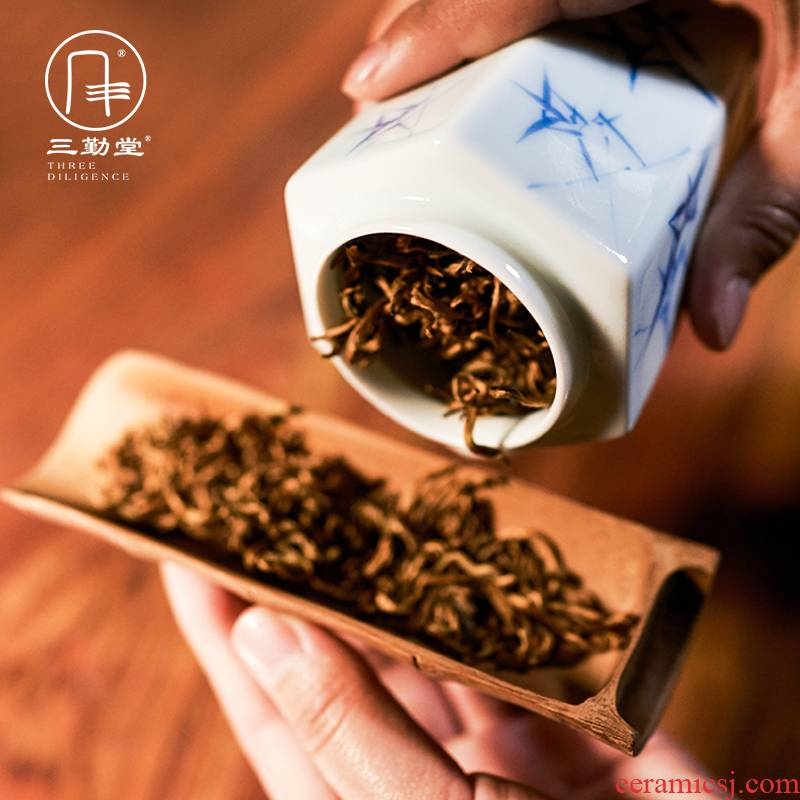The three frequently do caddy fixings small storage POTS of jingdezhen tea service hand - made portable sealed as cans portable S52015