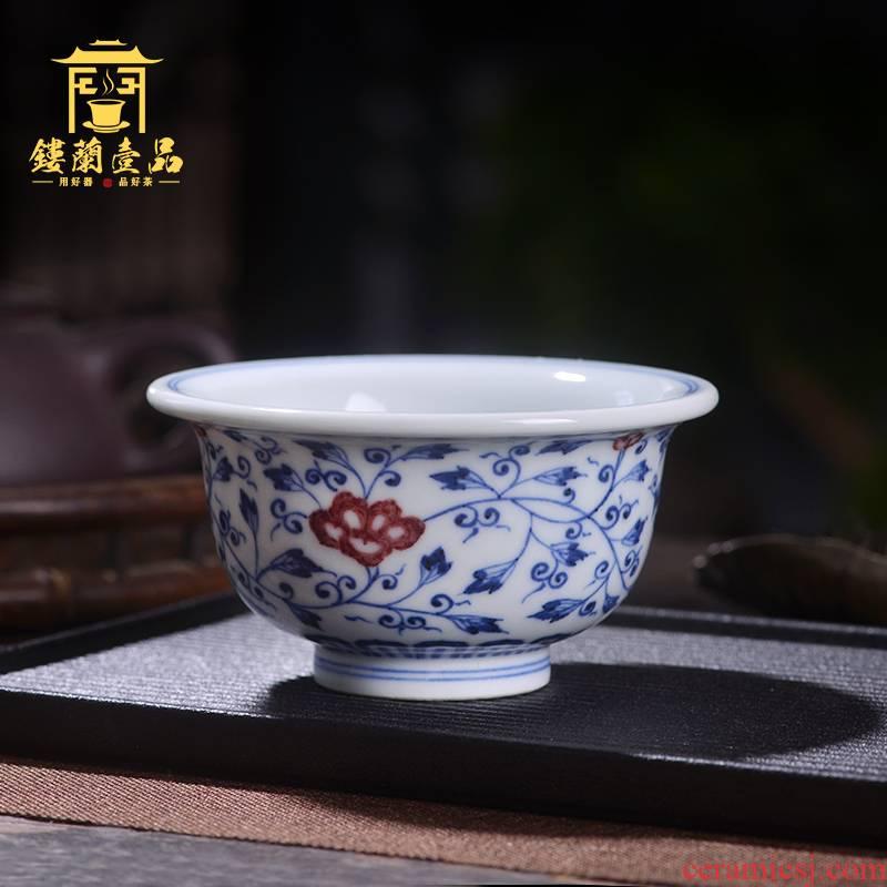 Jingdezhen ceramic all hand - made porcelain lotus pressure hand youligong tangled branches of kung fu tea set large tea master CPU