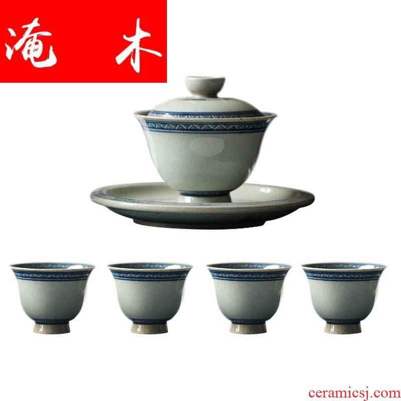 Flooded wood not brahman manual hand - made straw grain porcelain antique three bowl of large - sized ceramic kung fu tea tea cups
