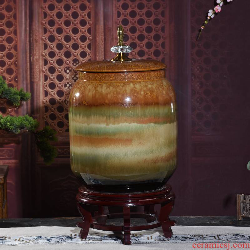 Zhuo art ceramic tank of water storage tank water dispenser porcelain tea bucket with leading high temperature color glaze green cylinder