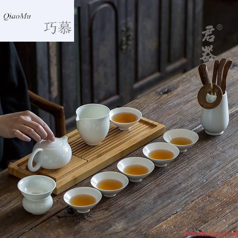 Qiao mu dehua white porcelain tea set suit small household 6 sets of kung fu tea set contracted tureen tea POTS hat to CPU