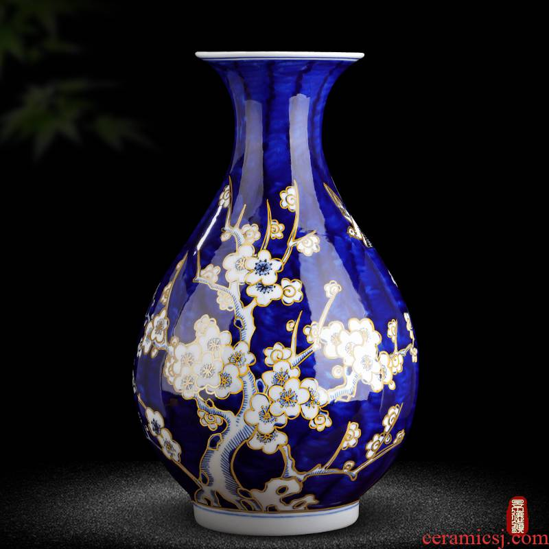 Jingdezhen ceramic antique hand - made paint new Chinese style living room blue and white porcelain vase rich ancient frame decorative porcelain furnishing articles
