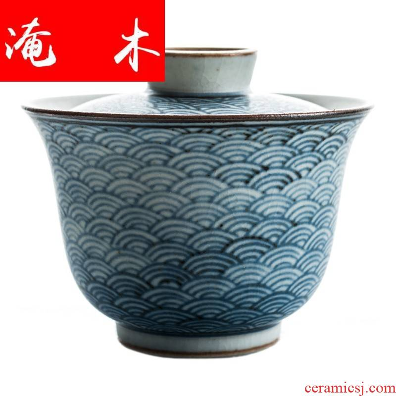 Flooded wood antique wood wind checking porcelain ceramic tureen tea tureen archaize tureen kung fu tea bowl cups