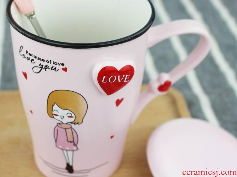 Qiao mu cup one south Korean creative cartoon ceramic mugs I birthday present coffee milk with water