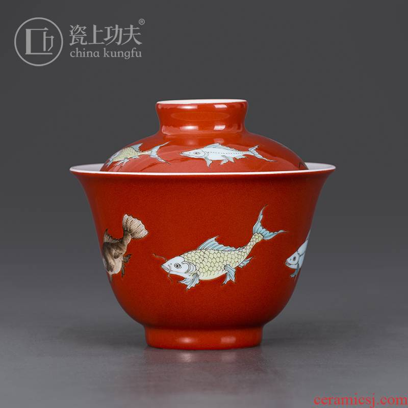Jingdezhen pure manual only three tureen ceramic cups color glaze single thin foetus ceramic bowl kung fu tea set