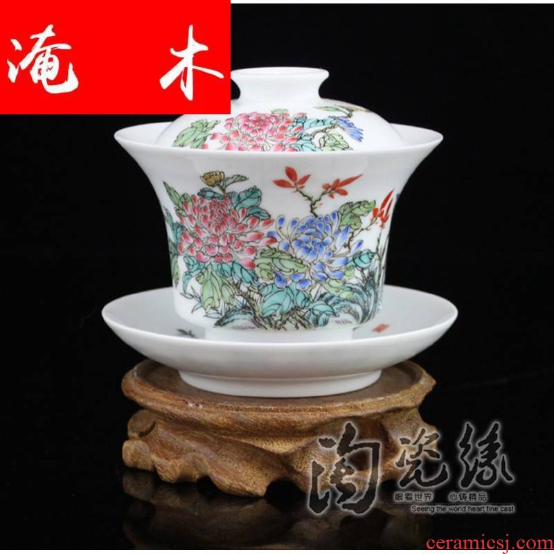 Flooded, rhyme jingdezhen porcelain tea tureen hand - made ceramic famille rose only three cup bowl hand - made tea CWJ