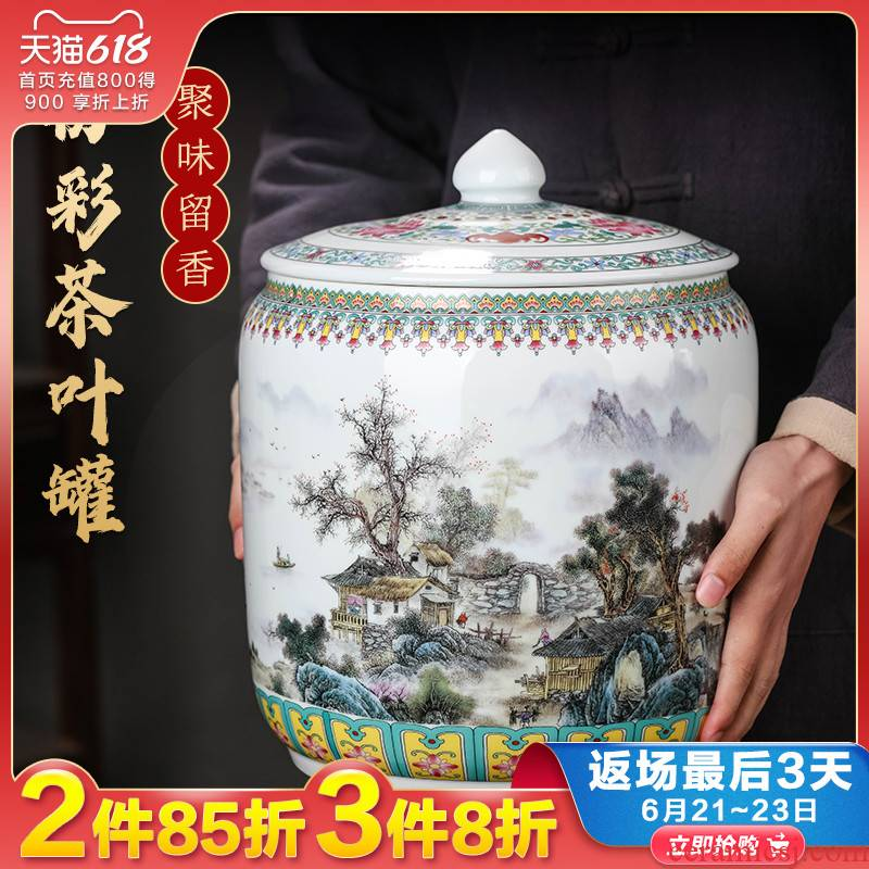 Jingdezhen ceramic tea pot of tea cake loose tea with cover seal storage tank has the characteristic of moisture proof of household adornment furnishing articles