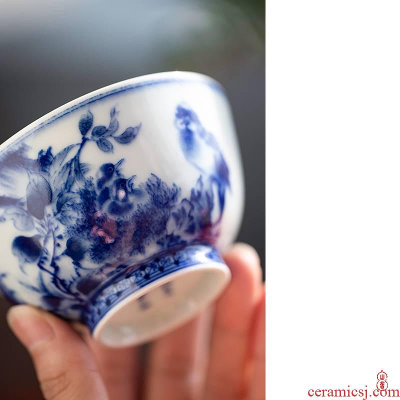 Arborist su tending figure large bowl of jingdezhen ceramic masters cup single CPU kung fu tea tea tea cups