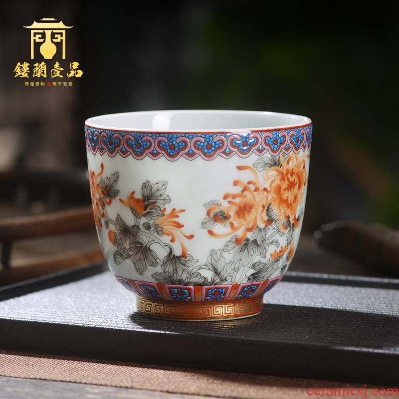 Jingdezhen ceramic all hand - made color ink alum HongQiuJu masters cup large cups kung fu tea cup, bowl