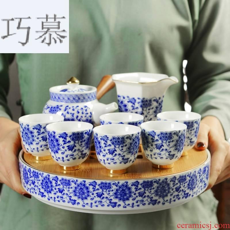 Qiao mu ceramic Japanese kung fu tea set suit household small circular bamboo tea tray was mini water mercifully tea it dry