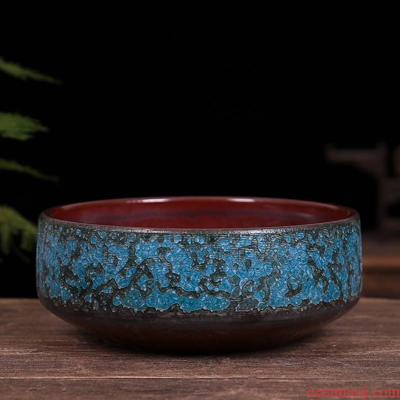 Concept of ceramic goldfish bowl back medaka ecological turtle sitting room made landscape comfort fish small micro miniascape, black