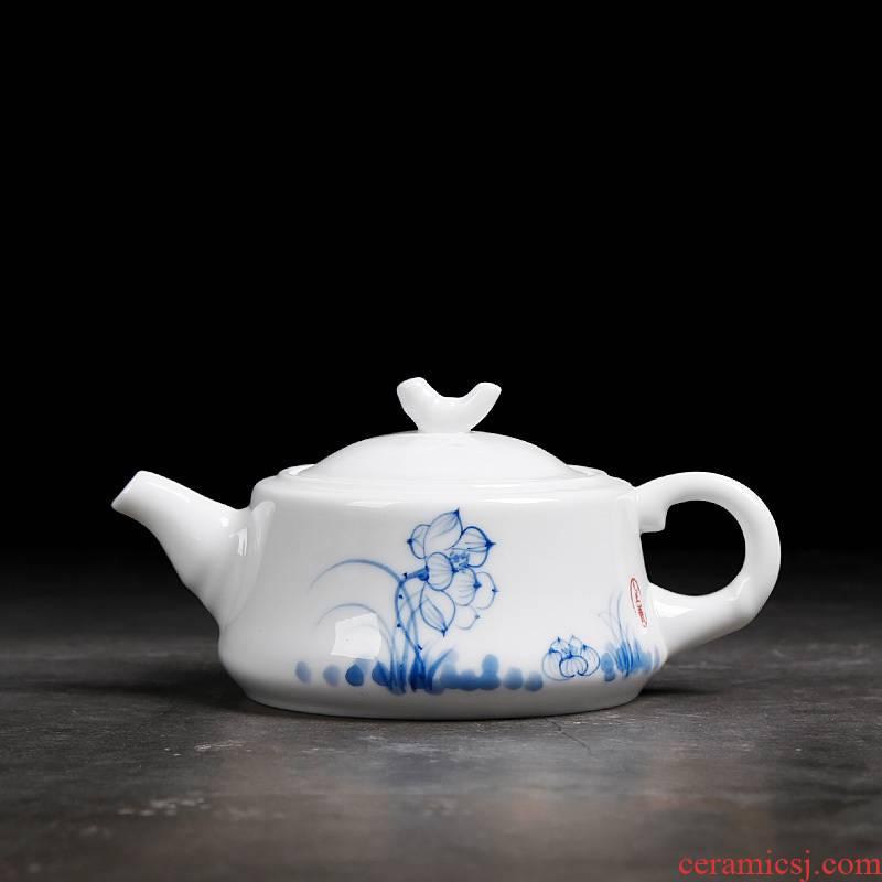 Ceramic household dehua white porcelain hand - made teapot single pot of contracted a single small kung fu tea filter tea originality
