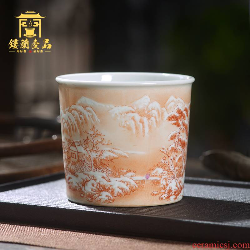 Jingdezhen ceramic all hand - made alum red snow master of kung fu tea tea cup single CPU name cup straight cup