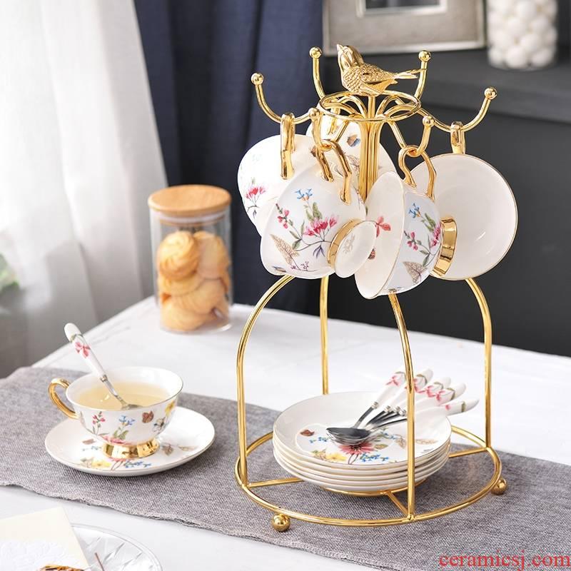 Qiao mu coffee cup suit small European - style key-2 luxury creative red ceramic tea cup English afternoon tea tea cups
