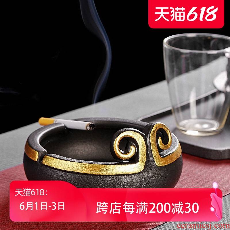 Creative large coarse cermet band ashtray Chinese style restoring ancient ways move ceramic home sitting room office car load