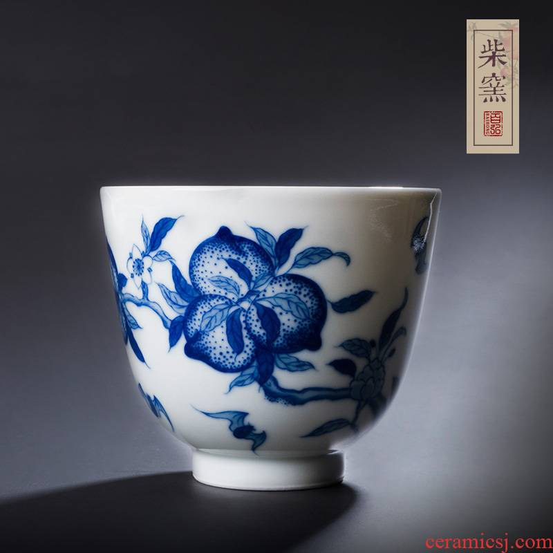 Hundreds of jingdezhen blue and white nine hong maintain peach wufu sample tea cup cup firewood hand - made master cup single cup by hand