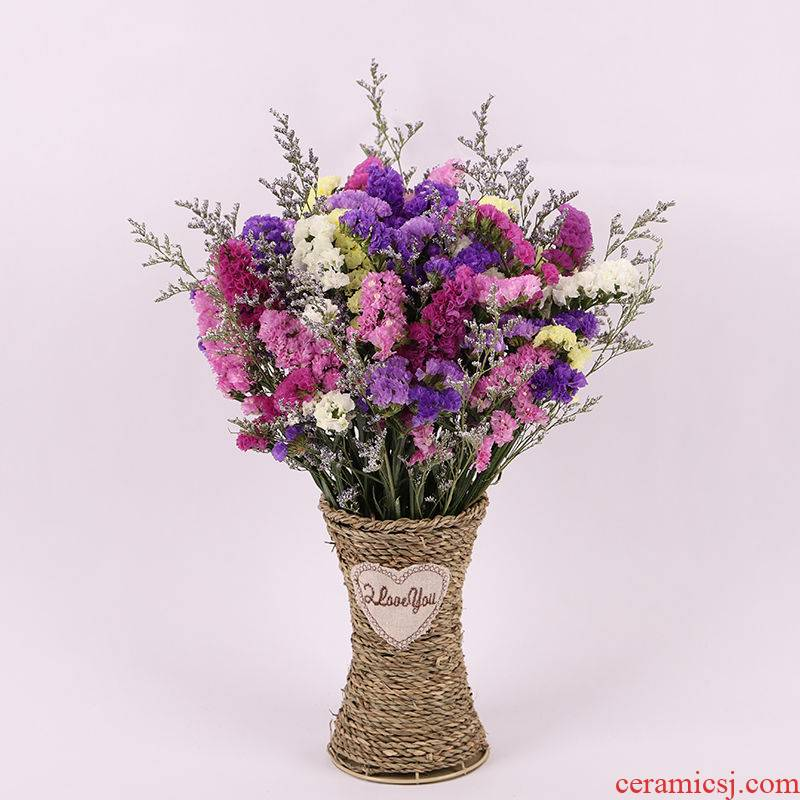 Yunnan flower bouquets of dried flowers all over the sky star forget - me - not really suit grass and ceramic crystal vase continental contracted