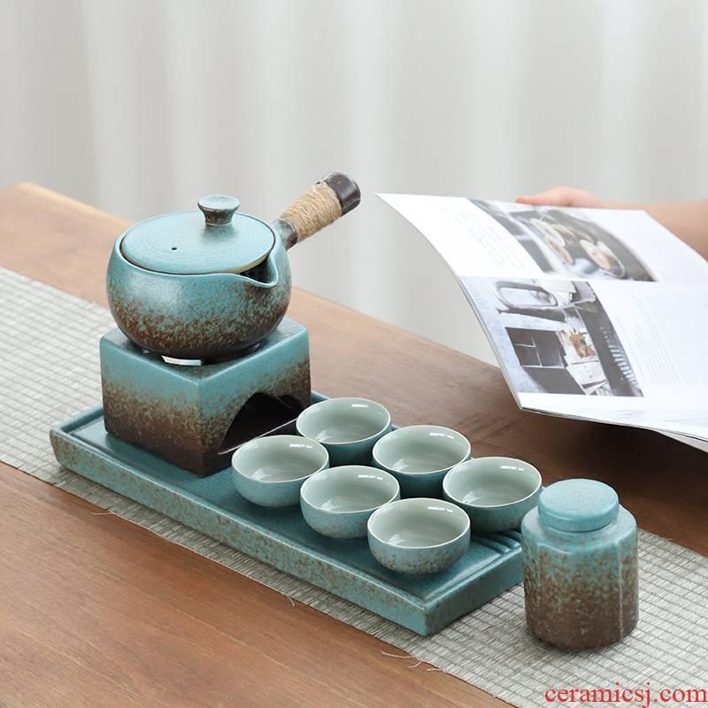 The Japanese side of coarse pottery pot of tea set ceramic tea cup tea tray temperature restoring ancient ways of tea heating base office