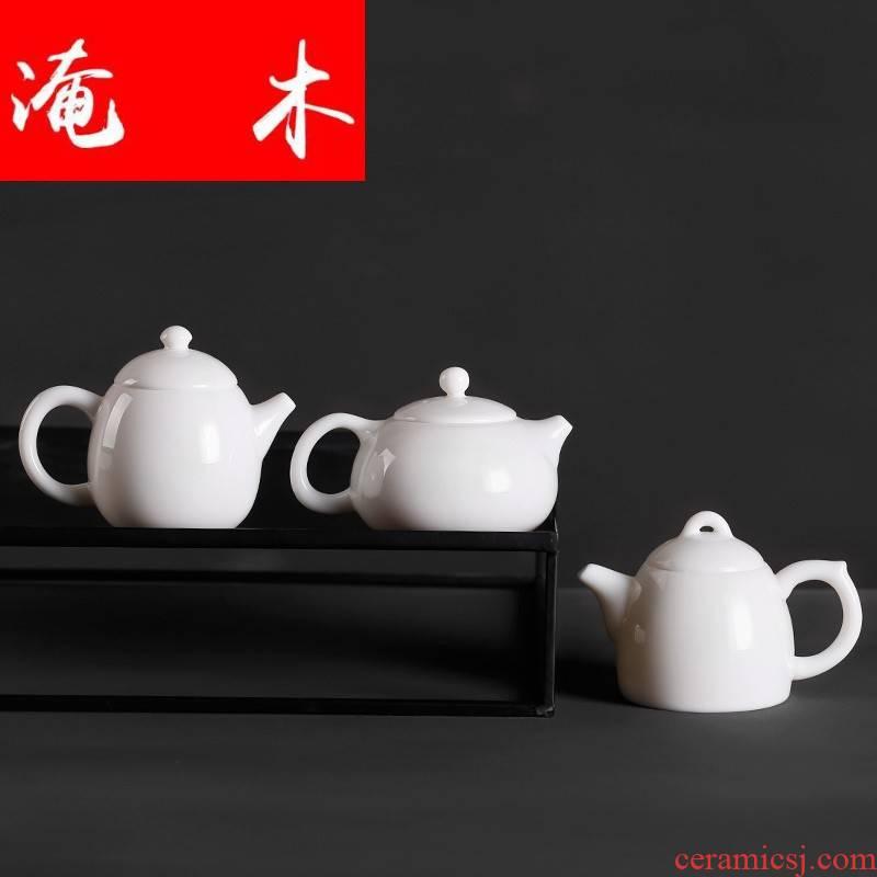 Submerged wood dragon egg white ceramic teapot Qin Quan kunfu tea dehua white porcelain teapot single pot of Chinese contracted office