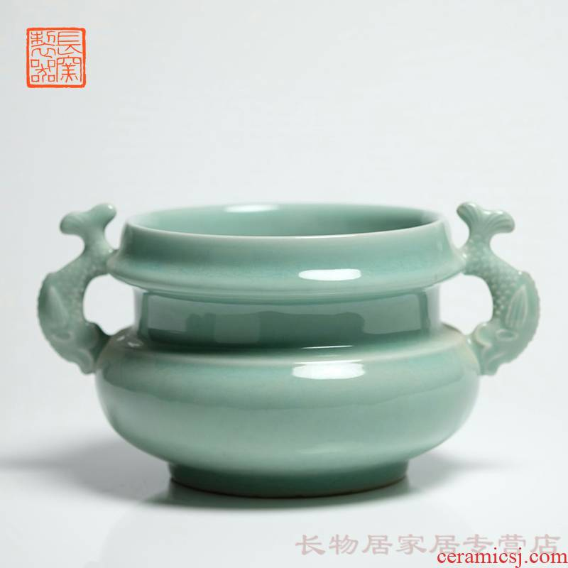 Making those offered home - cooked long up in jingdezhen ceramic powder blue glaze Capricorn ears furnace manual Chinese style household incense buner furnishing articles