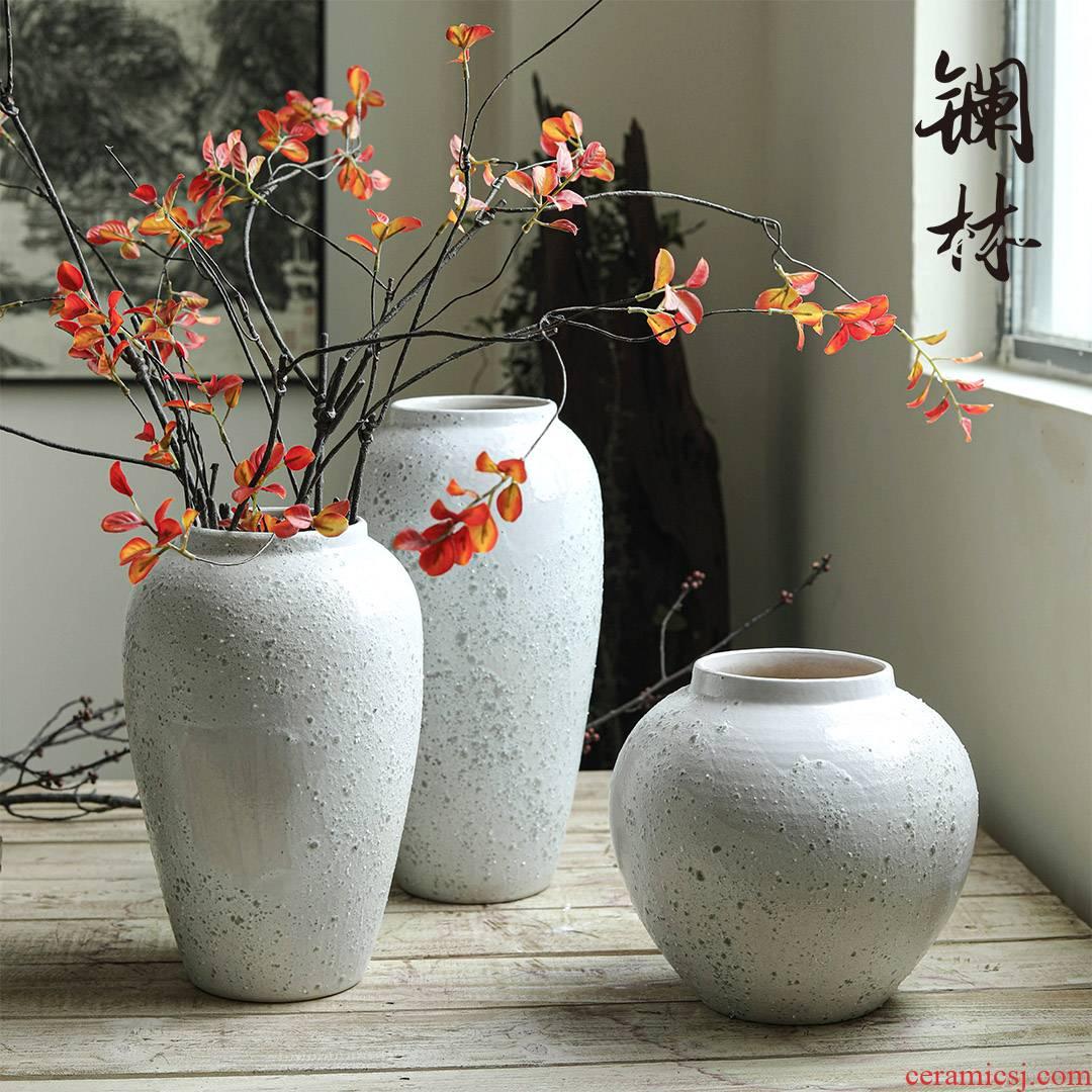 Flower implement vase ins Flower arranging vessel light key-2 luxury white ceramic furnishing articles of new Chinese style restoring ancient ways floret bottle LanXin desktop