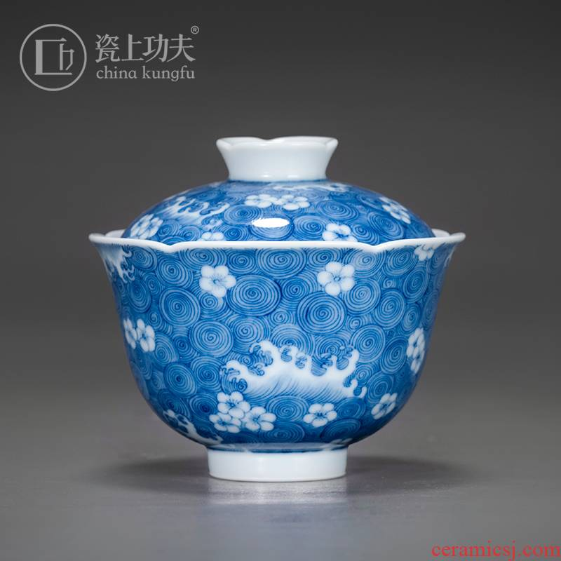 Kung fu tea set on the porcelain ceramic tureen pure manual three tureen jingdezhen blue and white porcelain cups in use