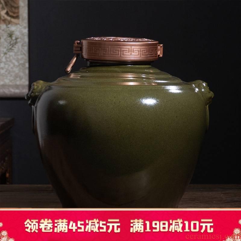 Jingdezhen ceramic wine jars 20 jins put antique bottles household seal at the end of the hip flask tank cylinder tea in it