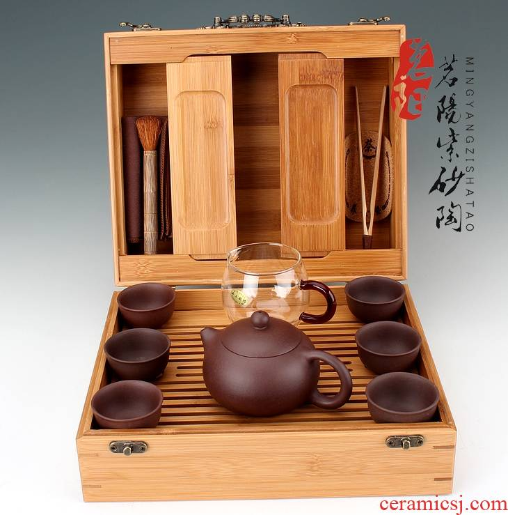Qiao mu MY it suit yixing pure manual xi shi teapot the home of a complete set of on - board, portable kunfu tea