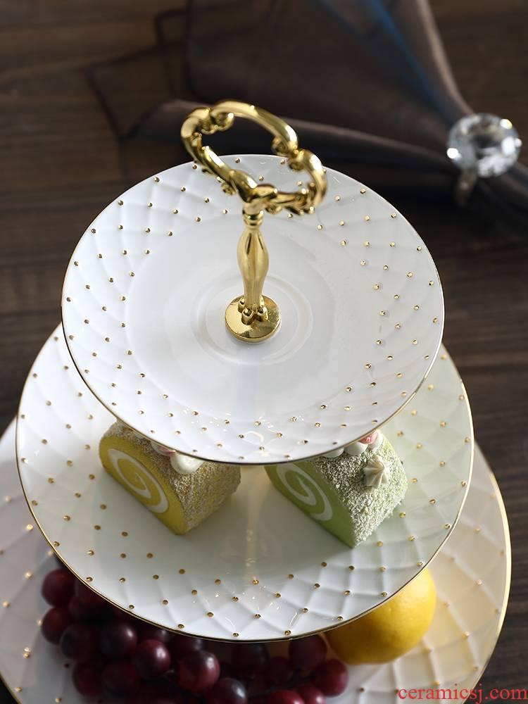 Qiao MuZhu spot gold ipads China afternoon tea heart European sitting room fruit bowl creative double layer cake cake