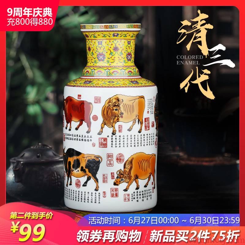 Jingdezhen ceramics powder enamel vase flower arranging place to live in the sitting room porch TV ark, decoration craft gift