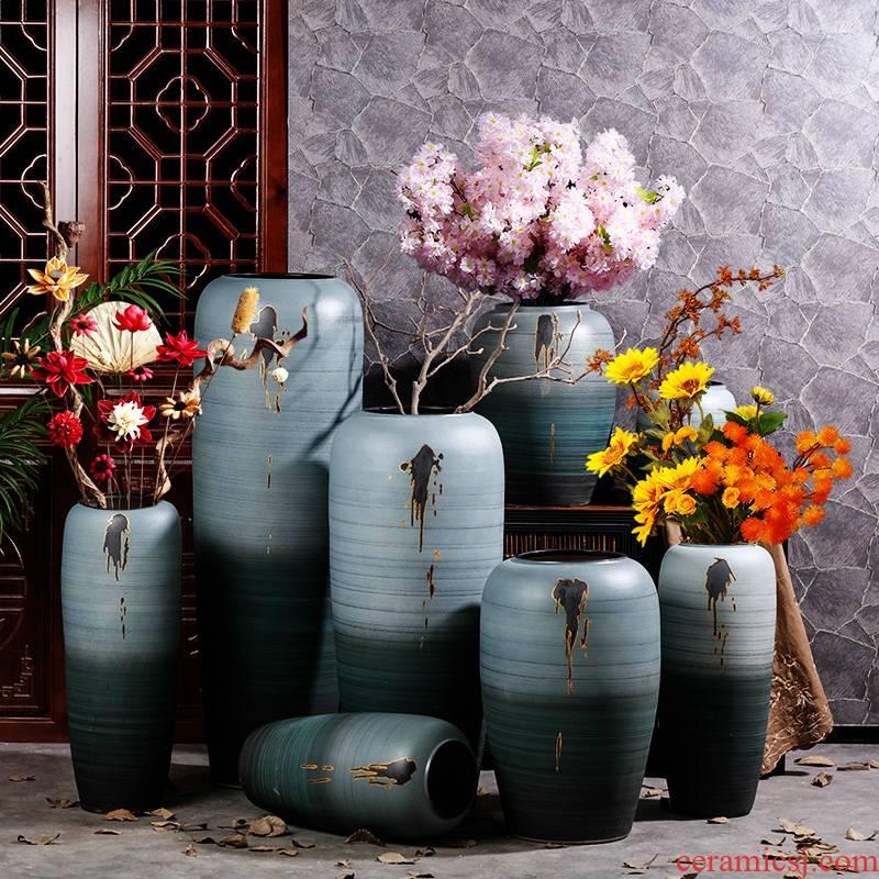New Chinese style ceramic vase landing furnishing articles hotel home sitting room porch light dry flower decoration key-2 luxury flower arrangement