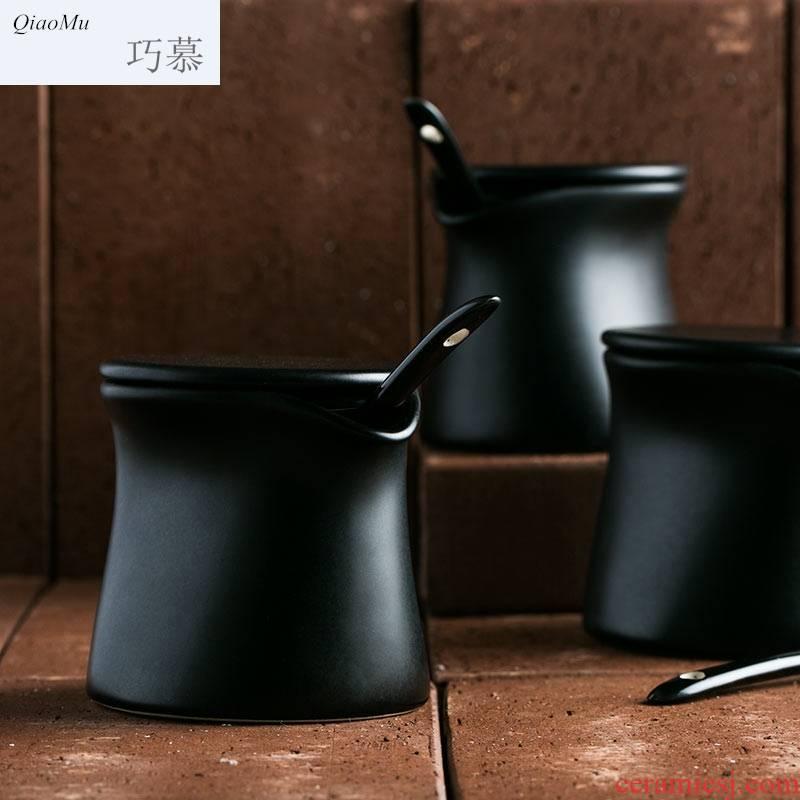 Qiao mu creative ceramic vinegar flavor pot oil bottle capped ingredients jar with cover pepper bottle of household kitchen salt shaker