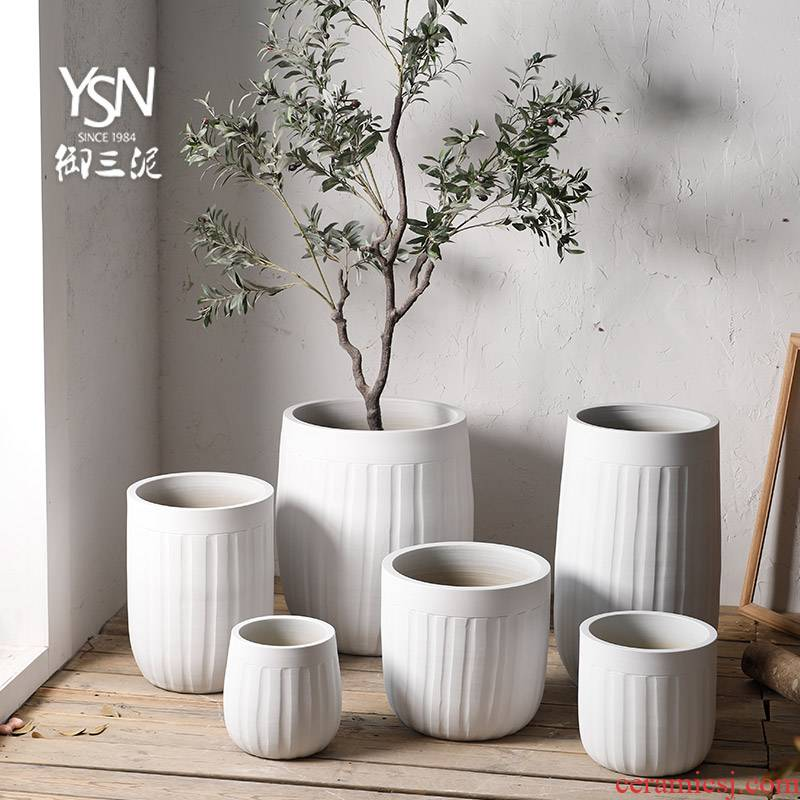 Royal three mud courtyard green plant breeding basin of I and contracted wind ceramic decoration, fleshy Nordic flowerpot vase fall to the ground