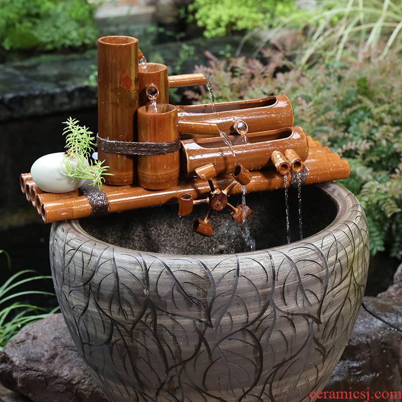 Bamboo water fountain water wheel furnishing articles to spill creative decorative stone runnel circulating water, ceramic aquarium filter
