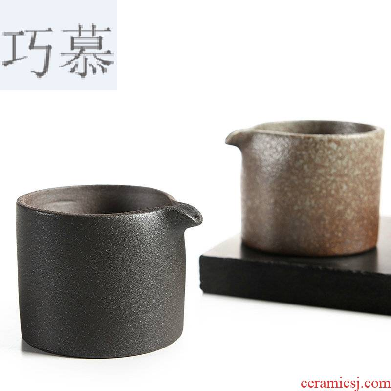 Qiao mu black ceramic zen stone fair glaze cup points of black tea is a Japanese contracted kung fu tea set and a cup of tea