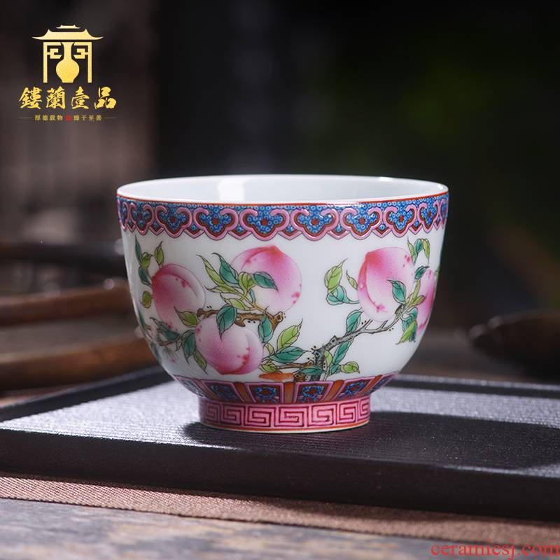 Jingdezhen ceramic all hand - made pastel live long and proper master cup large cups kung fu tea cup, bowl