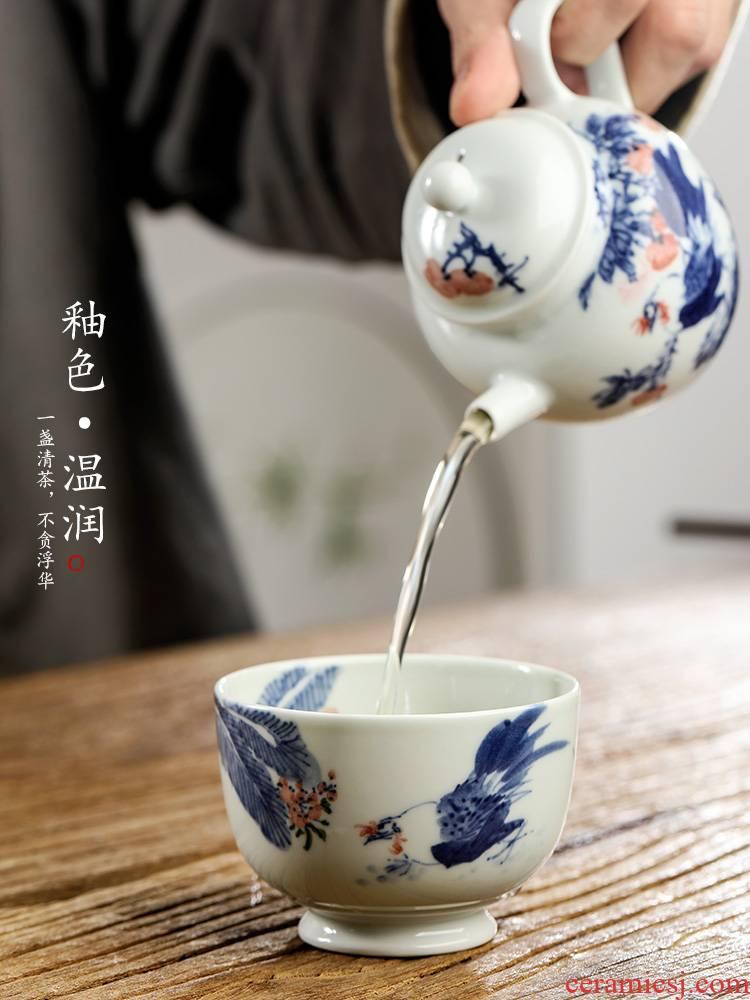 Pure manual jingdezhen blue and white master cup sample tea cup single CPU getting tea hand - made big chicken retro kung fu tea cups