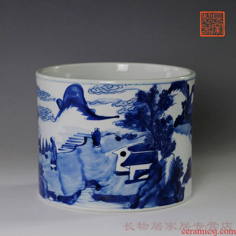 Stories of hand - made of porcelain brush pot offered home - cooked ju long up system, jingdezhen ceramic four Chinese style home furnishing articles