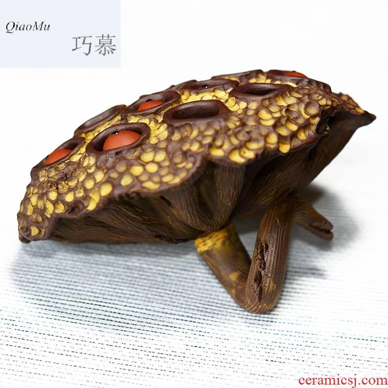 Qiao mu QD yixing purple sand tea pets play manual realistic mini frog lotus seed dry lotus its tea tea tray