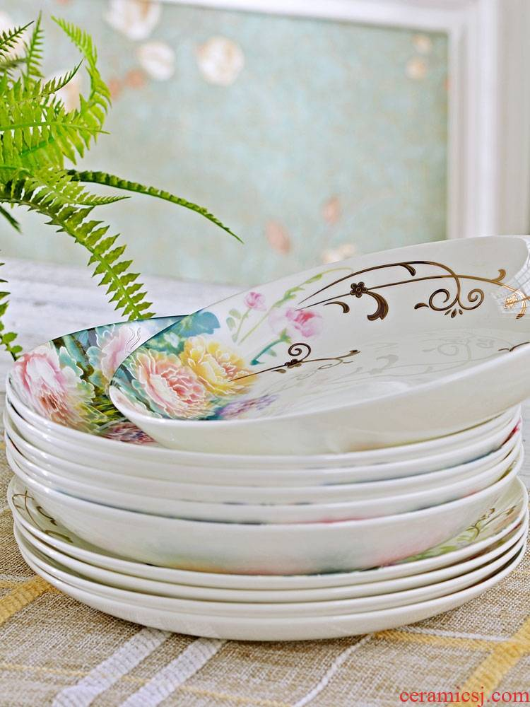Qiao mu jingdezhen ceramic tableware dishes suit household use plate combination contracted Korean ceramic bowl chopsticks