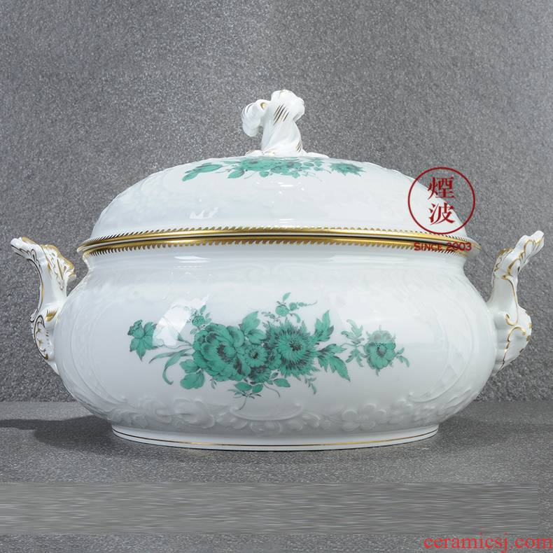 German mason MEISSEN porcelain new clipping Green flower banquet tureen cooper