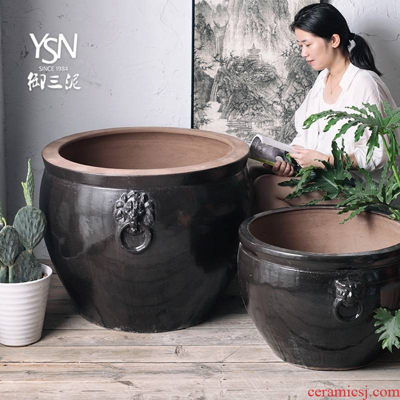 Royal three clay ceramic aquarium earthenware cylinder feel sea garden decoration furnishing articles courtyard hotel legend household is suing water tanks