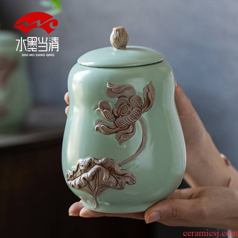 Your up caddy fixings ceramic seal tank large boutique high - end gift box large household storage jar to restore ancient ways