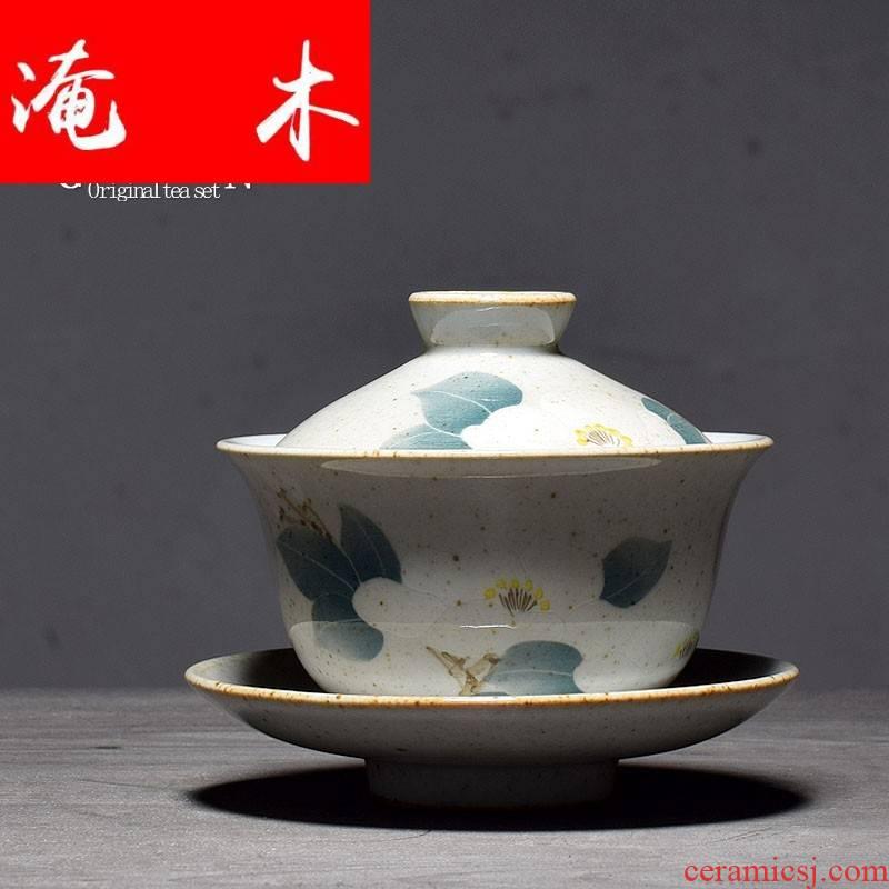 Submerged wood jingdezhen fine mud rock hand - made tureen pastel three tureen ceramic bowl kunfu tea tea set
