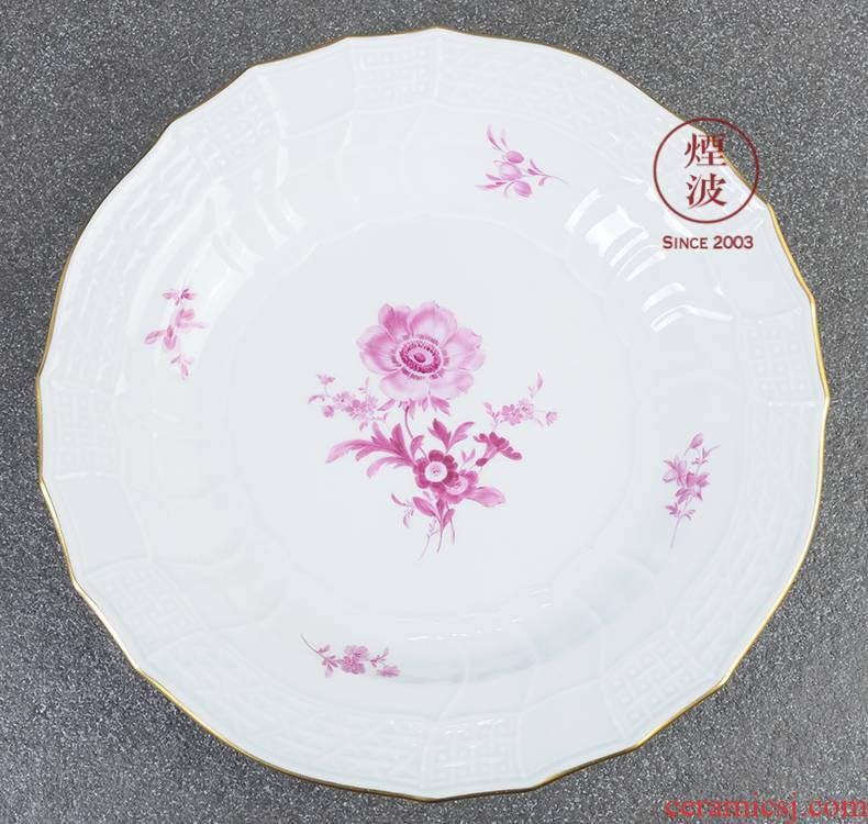 German mason MEISSEN porcelain new clipping the see colour pink flowers continental plates platter 255 mm