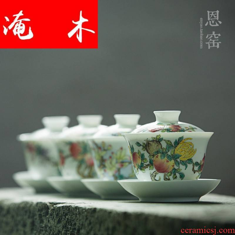 Flooded wooden thin body big tureen famille rose flower worship only three cup cup six styles of jingdezhen porcelain tea set by hand