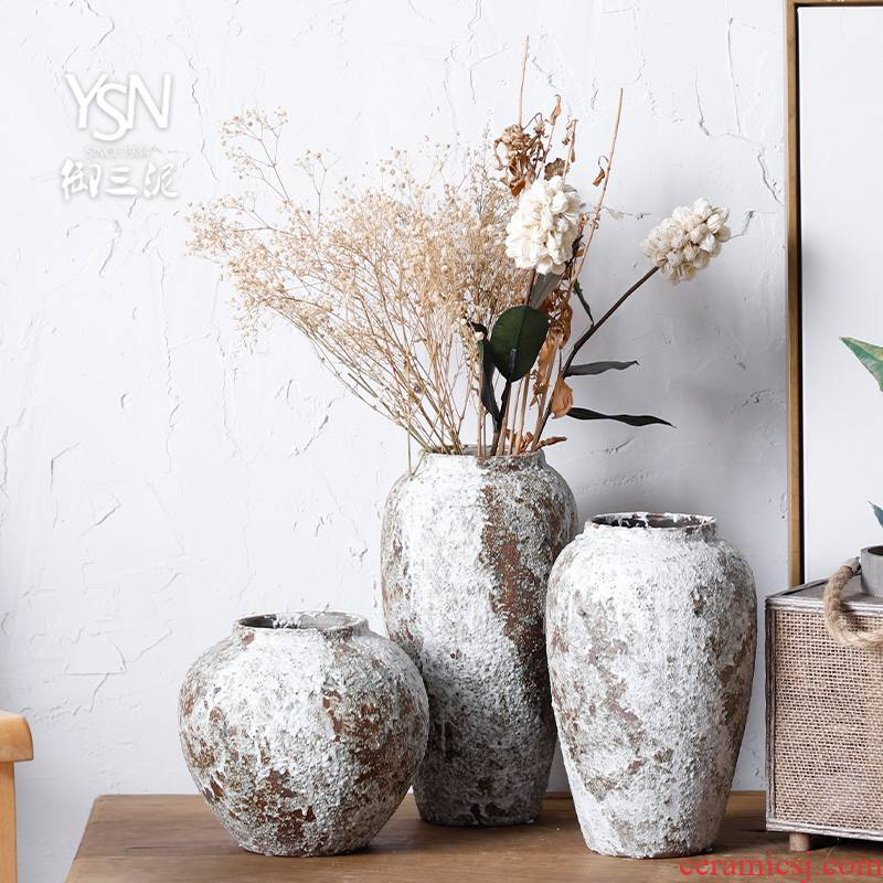 Royal three clay earthenware rough feeling restoring ancient ways flowerpot furnishing articles mesa coarse pottery vases, ceramic dry flower vases, pottery jar